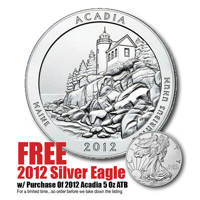 2012 5 oz Silver America The Beautiful - (Acadia) - Bullion Issue - Great Price