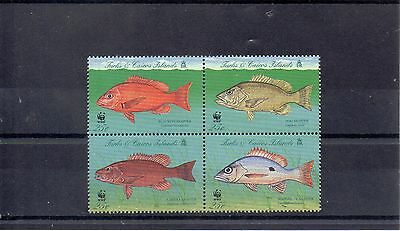 TURKS & CAICOS Is.  1998 W W FUND SG 1479 to 1482 MNH - FISH