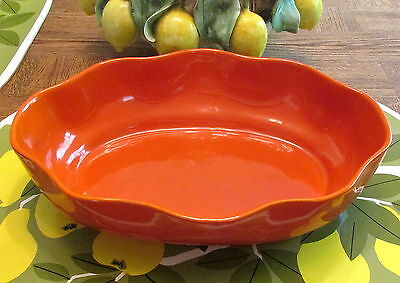Very Nice Large Orange Bauer Pottery Scalloped Centerpiece Bowl