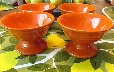 Set Of 4 Orange Bauer Ring Sherbets Great Condition! #2