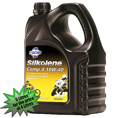 Silkolene Comp 4 10w-40 XP 5 Litres Motorcycle 4 Stroke Engine Oil 10W40 5L