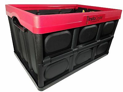 InstaCrate 12 Gallon Instant Storage Greenmade USA Folds Flat Bin - Red