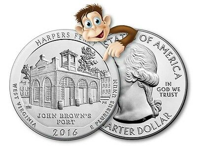 2016 5 oz Silver America The Beautiful - (Harpers Ferry, WV) - Bullion Issue