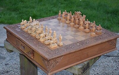 Real Wood Large Rare Hand Craved Chess Set Unique Strategy Game