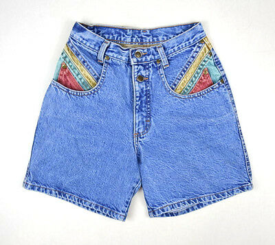 "Vtg 90s Color Block Denim Retro Grunge Jean High Waist Shorts Womens 26"" Waist"