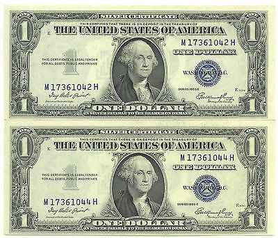 United States 1935 E $1 Silver Certificate Blue Seal Lot of 2 One Number Apart