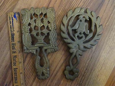 "2 Vintage Brass Trivets Marked ""Japan"""
