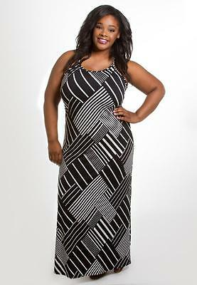 214e866ae43 Plus Size Maxi Dress 1X 3X Black White Sleeveless SWAK Polyester Blend NEW