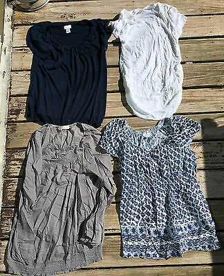 Lot of 4 MATERNITY TUNIC TOPS Motherhood Maternity Old Navy Size L shirt large c