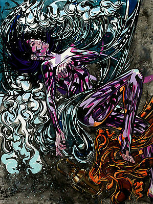 Original painting by Skytox of woman in waves (graffiti urban acrylic oil)