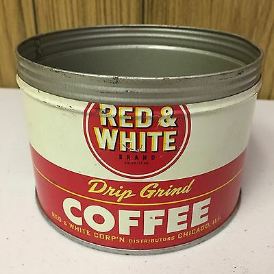 Vintage Red & White Coffee Tin 1 Lb Key Wind ORIGINAL Country Store Advertising!