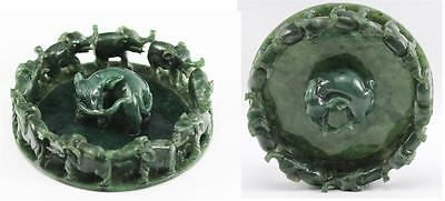 Rare Carved Circle Marching Elephants Chinese Carved Spinach Jade Statue