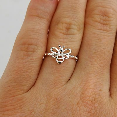 Dainty Honey Bee Ring - 925 Sterling Silver - Sizes 6, 7, 8 - Bumble Bees NEW
