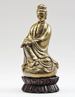 Antique Chinese Kwanyin Guanyin Bronze Statue on Double Lotus Petal Base