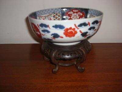 "Antique Japanese 8 1/4"" Imari Bowl With Mahogany Stand"