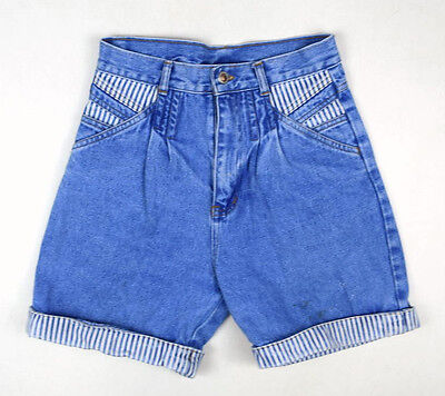 "Vtg 90s Blue Denim Retro Grunge Jean Cuffed High Waist Shorts Womens 26"" Waist"
