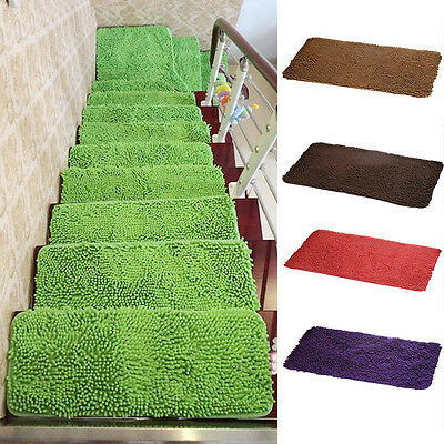 New Stair Mat Pure Color Rectangle Stair Treads Carpet Modern Non-Slip Rug 1PC