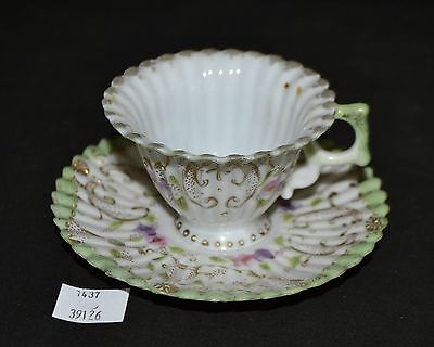 ThriftCHI ~ Ceramic Demitasse Cup & Saucer - Hand Painted Florals Ribbed Design