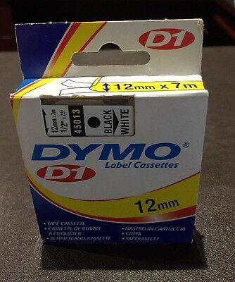 GENUINE DYMO D1 LABEL 12mm x 7m - Black on White 45013 SPECIAL