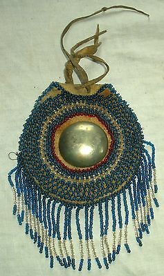 ANTIQUE c1880–1920 APACHE NATIVE AMERICAN INDIAN BEADED BELT BAG CONCHO vafo