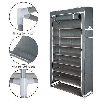 10 Tiers up to 50 Pairs of Shoe Different Type with Dust-proof Cover Coffee Grey