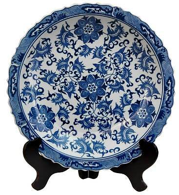 14 in. Dia. Floral Blue & White Porcelain Plate [ID 92432]