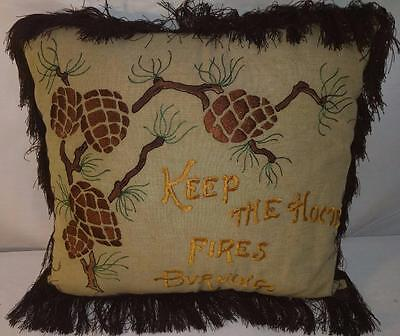 ML ANTIQUE Arts & Crafts Pillow 1900's Embroidered Silk Keep Home Fires Burning