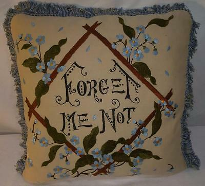 """ML ANTIQUE Motto Fringe Pillow c 1900's Embroidered Silk Forget Me Not 17"""" x 18"""""""