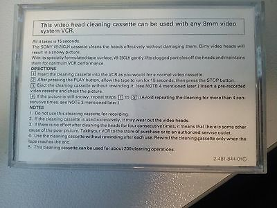 8mm video cleaning tape Sony  V8-25CLH