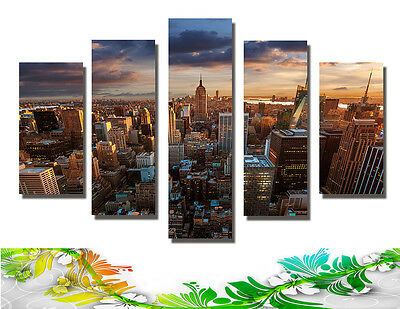 Abstract Wall Decor Art Oil Painting on Canvas 5 Parts NO frame City Night 057