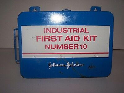 Vintage Blue Metal Johnson & Johnson Industrial First Aid Kit Number 10 Full