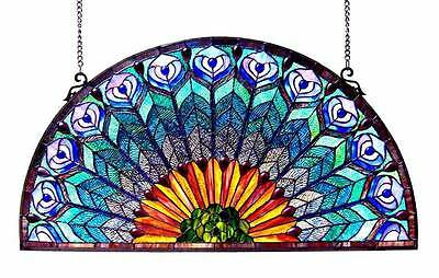 PEACOCK, Tiffany-style Peacock Feather Glass Window Panel 35x18 [ID 3114442]