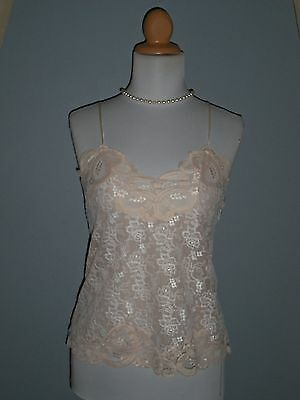 Vintage Eve Stillman Lavish Lace Retro Camisole White and Nude Fitted Shape Sz S