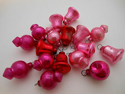 Vintage Christmas Feather Tree Glass Ornament LOT 17 Bell Pink Fuschia Red