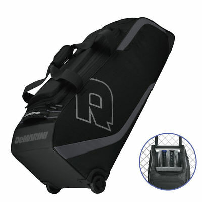 DeMarini ID2P Black Bag on Wheels for 4 Baseball Bats/Softball/Sports/Trolley