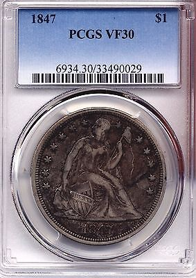 1847 Seated Liberty Dollar Pcgs Vf 30 Coin Coins Original Nice !