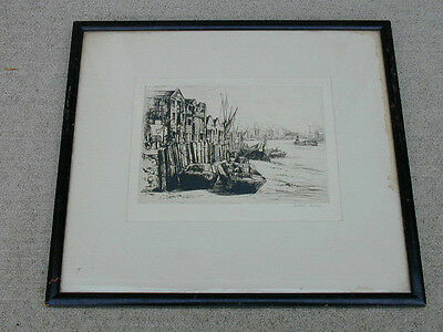 VINTAGE print ORIGINAL ETCHING old AILEEN MARY ELLIOT THE THAMES of LIMEHOUSE