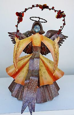 Large Angel Christmas table center piece Ornament holding beaded garland Xmas