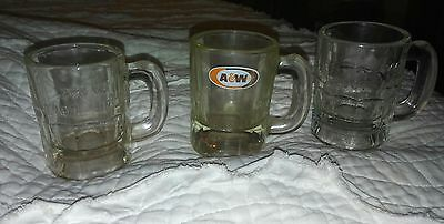 Lot of 3 A & W Mini Baby Miniature Root Beer Heavy Glass Mug- Embossed Logo