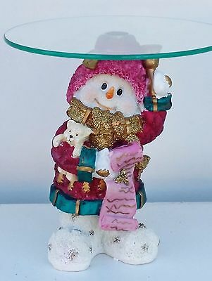 Collectible Christmas Snowman glass shelf table top decoration Vintage Xmas