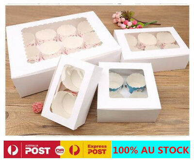 Cupcake Boxes 1/2/4/12 Hole White Portable Paper Window Wedding Cake Candy Gift