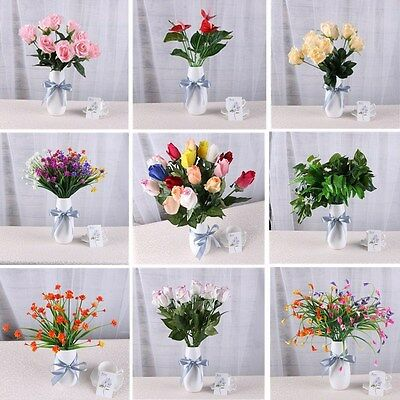 Artificial Rose Buds Bunch Bouquet Flower Floral Fake Valentines Wedding Decor