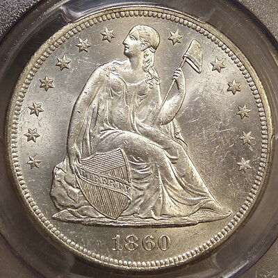 1860-O Seated Liberty Dollar, PCGS MS-61, True Original Old Time BU Coin