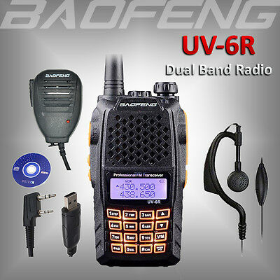 BAOFENG UV-6R Dual Band UHF/VHF Ham Radio Walkie Talkie +USB Cable +Speaker Mic