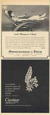 1962 Abercrombie & Fitch PRINT AD / Cartier PRINT AD feat: Diamond spray pin