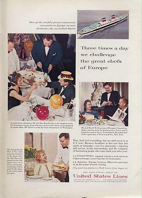 1962 United States Lines PRINT AD Features Grove, Francoeur, & Hamlin Shaw