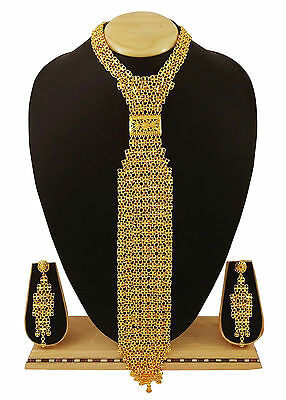 18K Goldplated Designer 2Pc Long Necklace Earring Set Traditional Jewelry