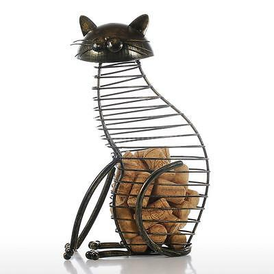 Tooarts Cat Wine Cork Container Home Decor Iron Craft Gift Animal Ornament Z8S0