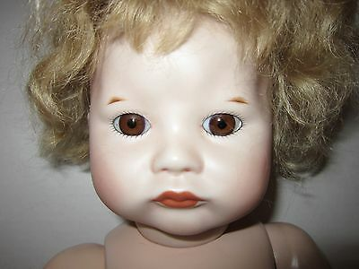 "Vintg 19"" bisque head reproduction SFBJ 252 PARIS-brown glass eyes-mohair wig EC"