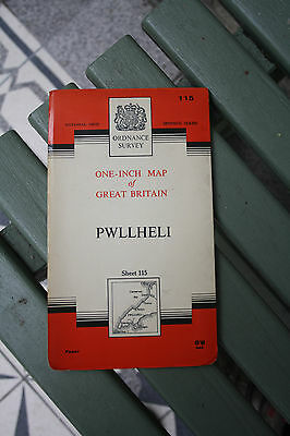 ephemera  VINTAGE OS MAP OF PWLLHELI  AREA